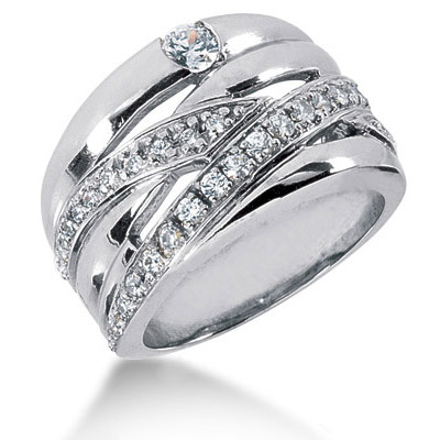 Platinum Round Diamond Right Hand Ladies Ring 0.57ct