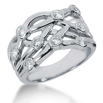 Platinum Round Diamond Right Hand Ladies Ring 0.73ct