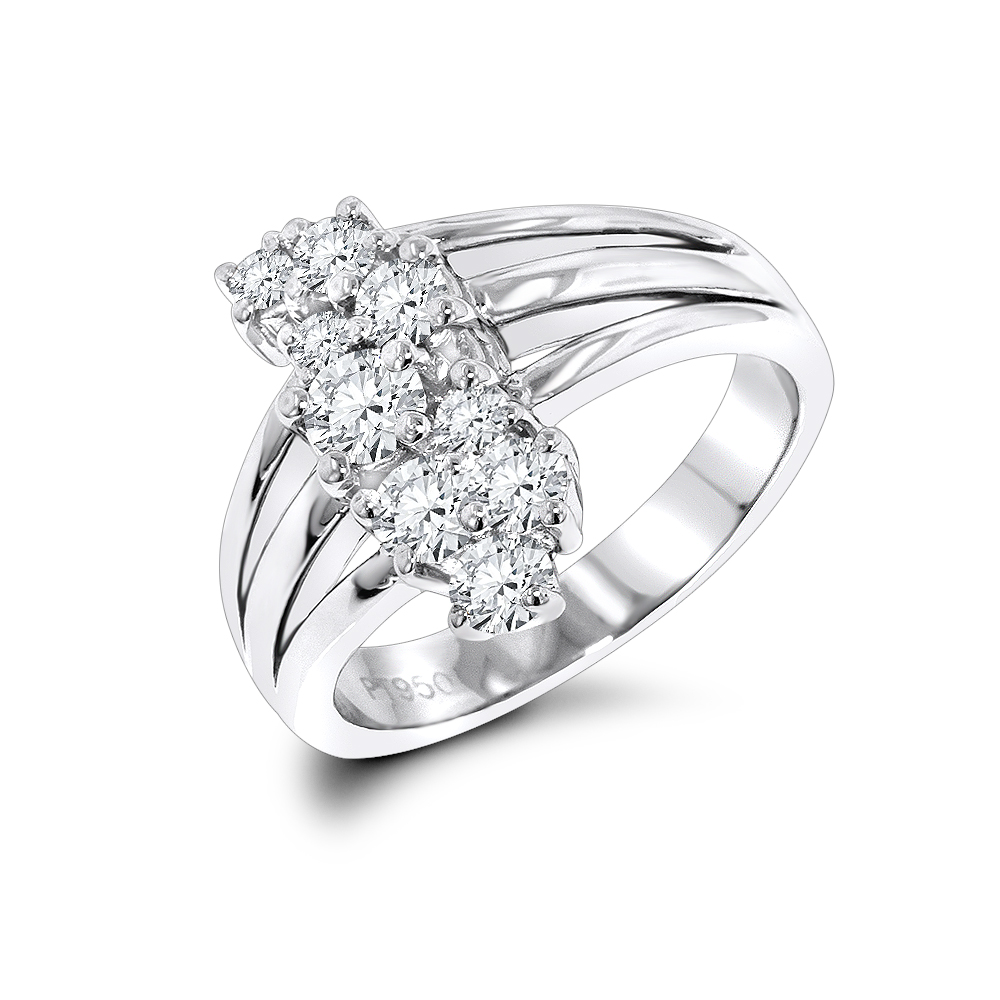 Platinum Round Diamond Right Hand Ladies Ring 0.76ct
