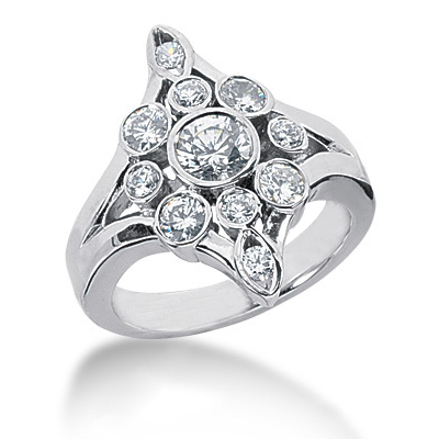Platinum Round Diamond Right Hand Ladies Ring 1.11ct Platinum Round Diamond Right Hand Ladies Ring 1.11ct