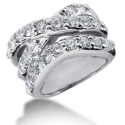 Platinum Round Diamond Right Hand Ladies Ring 2.25ct