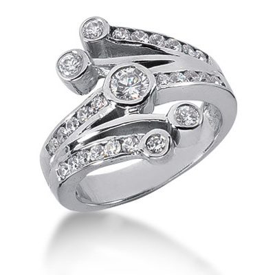 Platinum Round Diamond Right Hand Womens Ring 0.95ct Main Image