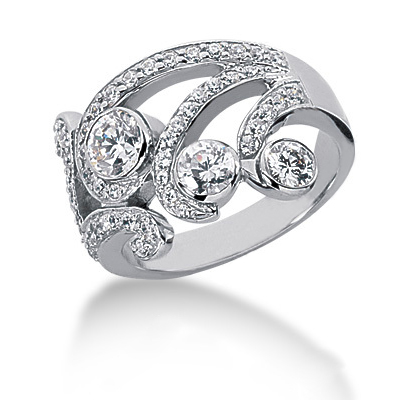 Platinum Round Diamond Right Hand Womens Ring 1.17ct Platinum Round Diamond Right Hand Womens Ring 1.17ct