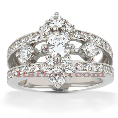 Platinum Round Diamond Right Hand Womens Ring 1ct