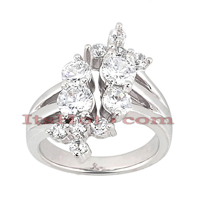 Platinum Round Diamond Right Hand Womens Ring 2ct Main Image