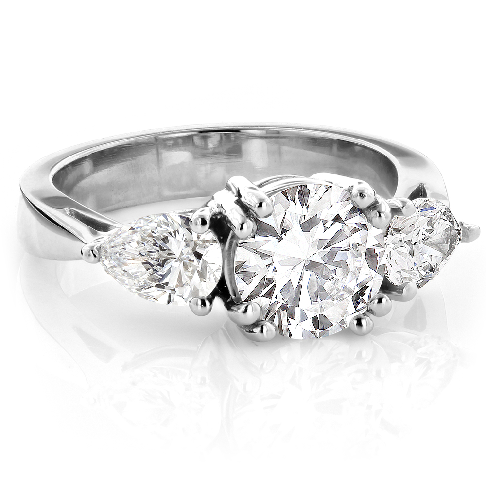Platinum Three Stone Round and Pear Diamond Engagement Ring 3ct G/VS GIA White Image