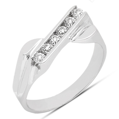 Thin Platinum Women's Diamond Ring 0.21ct Main Image
