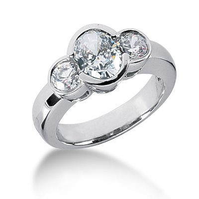 Thin Platinum Women's Diamond Ring 1.50ct Main Image
