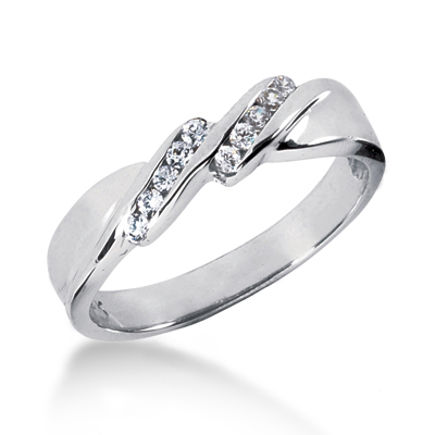 Thin Platinum Women's Diamond Wedding Band 0.12ct Main Image