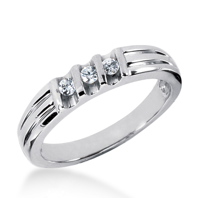 Thin Platinum Women's Diamond Wedding Ring 0.21ct