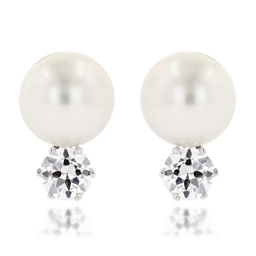 Pre-Owned Platinum Authentic Tiffany & Co Pearl and Diamonds Earrings 2.4ct Main Image