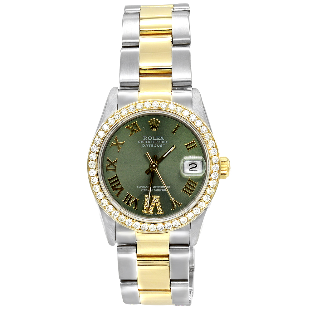 Pre-Owned Rolex Oyster Perpetual Datejust Diamond Bezel Watch For Men 3ct Main Image