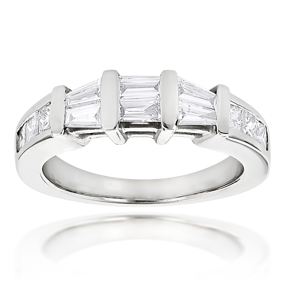Princess Cut and Baguette Diamond Wedding Band 0.9ct 14K Gold White Image