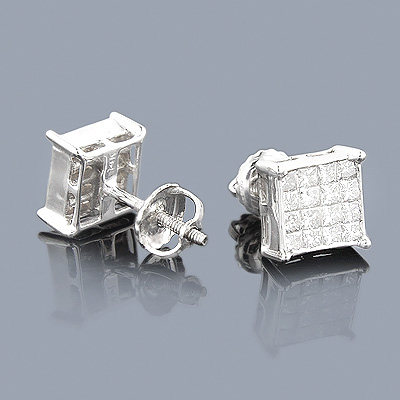 Princess Cut Diamond Earrings 0.95ct 14K Gold Main Image