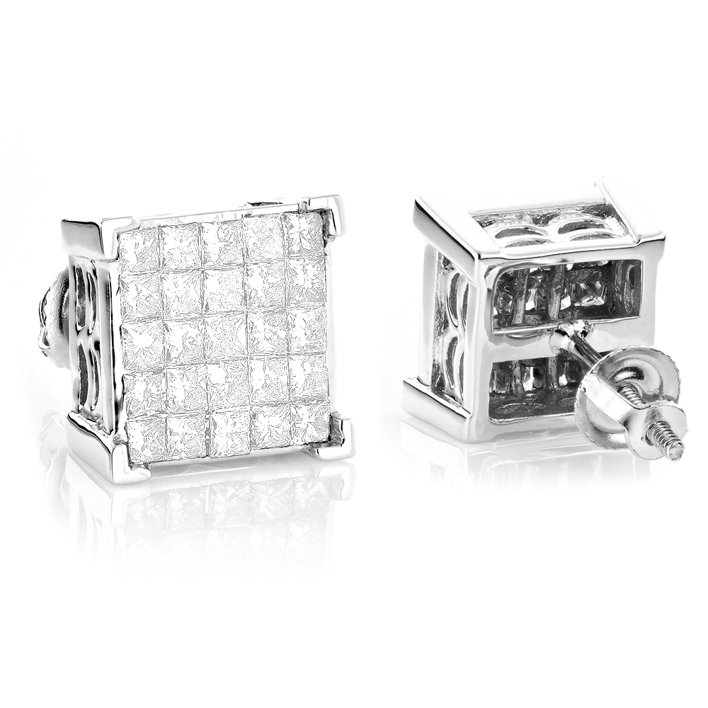Princess Cut Diamond Earrings Studs 14K Gold 1.38ct White Image