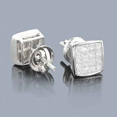 Princess Cut Diamond Earrings 1ct - Invisible Setting Main Image