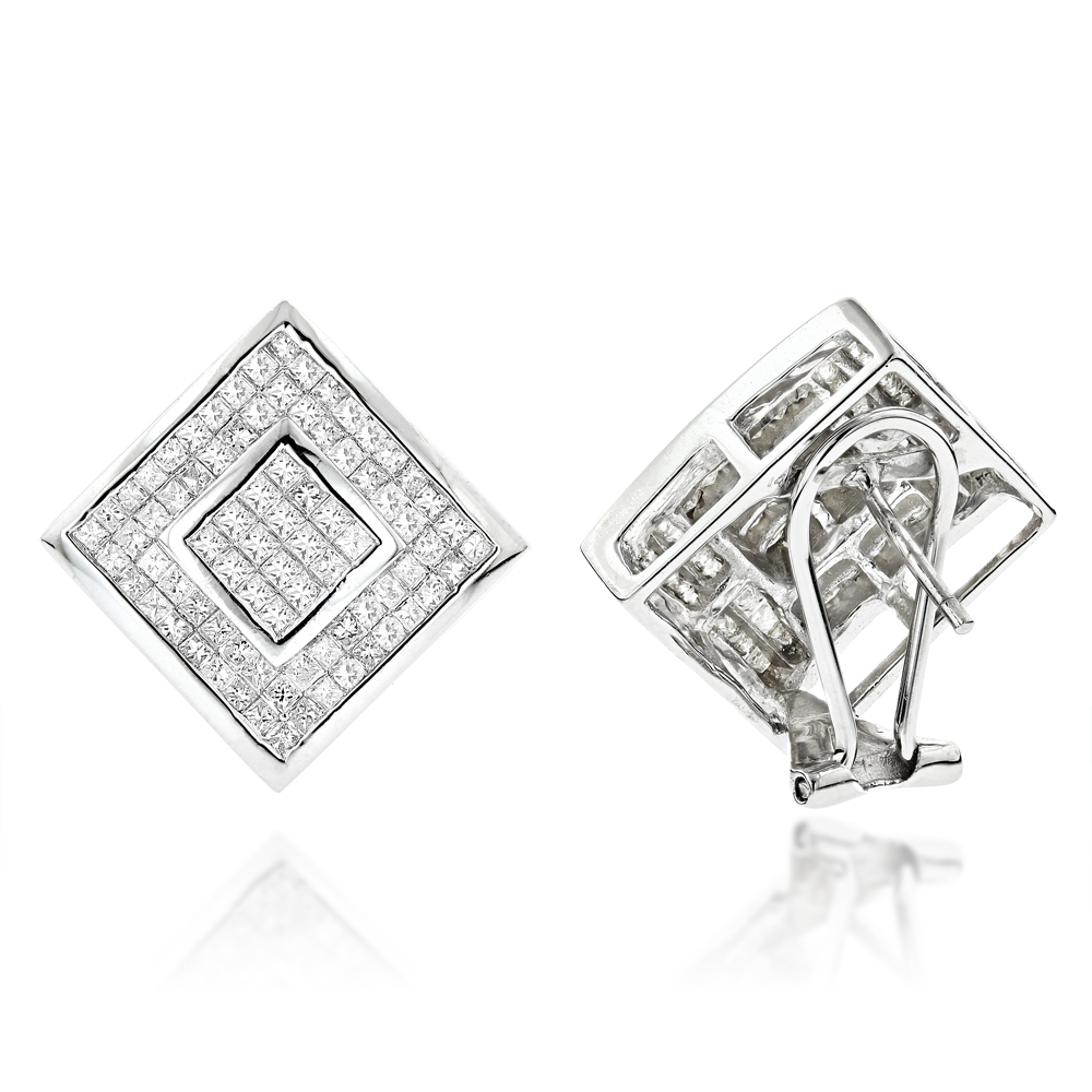 Princess Cut Diamond Earrings 2.50ct 14K Gold White Image