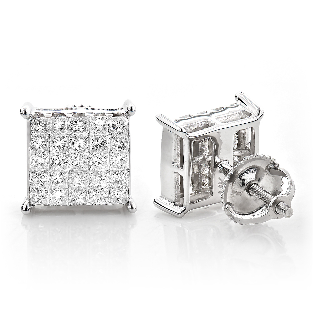 Princess Cut Diamond Earrings Studs Invisible Setting 1.15 White Image