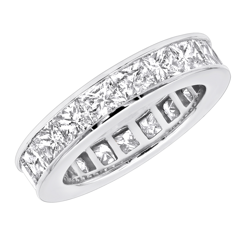 4mm Princess Cut Diamond Eternity Band 4.30ct 14K Gold White Image