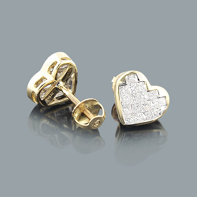 Princess Cut Diamond Heart Earrings 0.64ct 14K Main Image