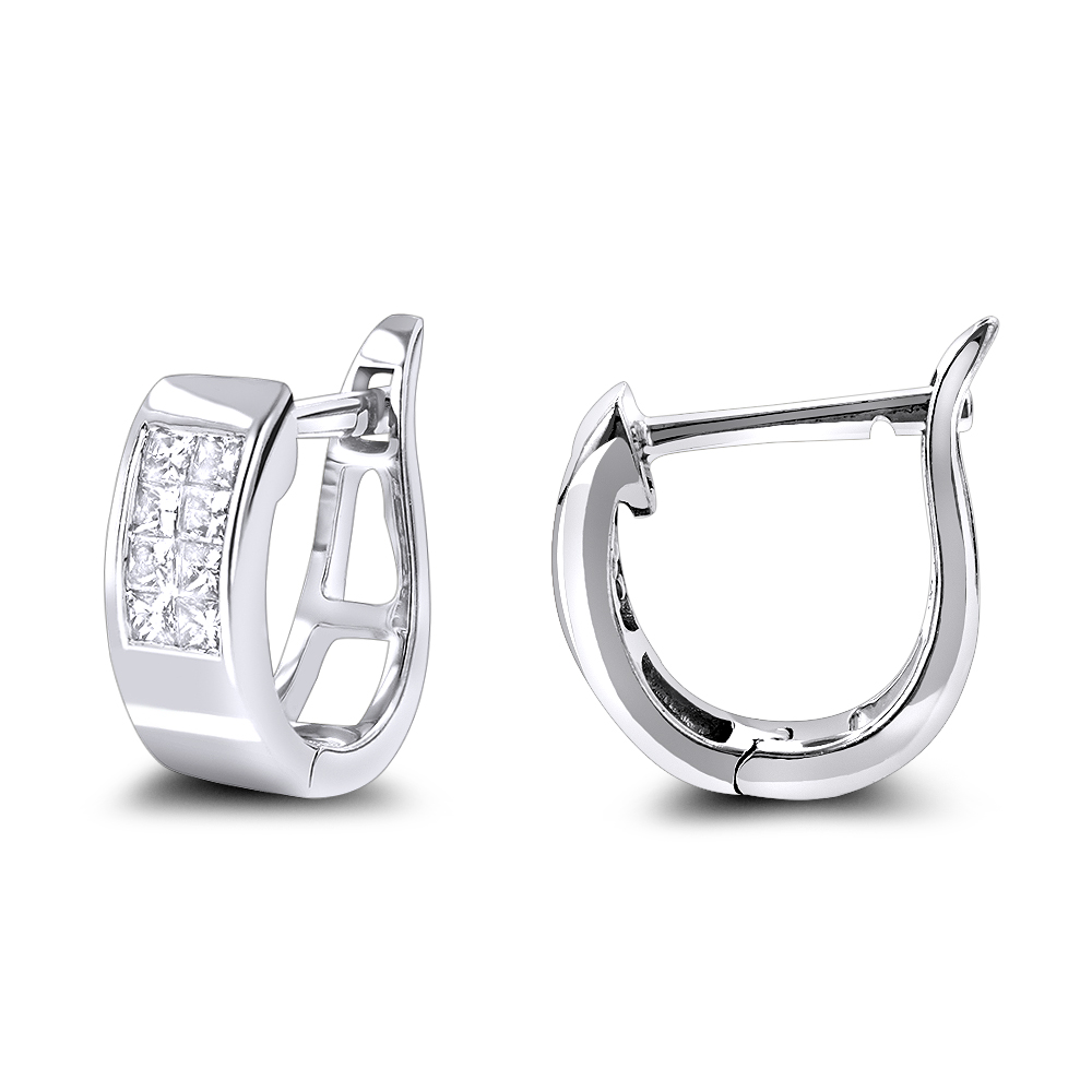 Princess Cut Diamond Huggie Earrings 0.25ct 14K Gold