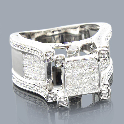Princess Cut Diamond Rings: 14K Engagement Ring 1.27ct Main Image