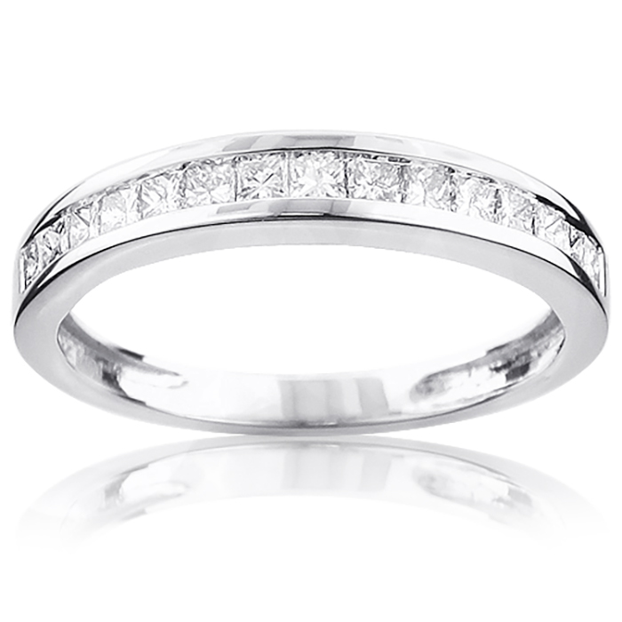 Thin Princess Cut Diamond Wedding Band 0.59ct 14K Gold White Image