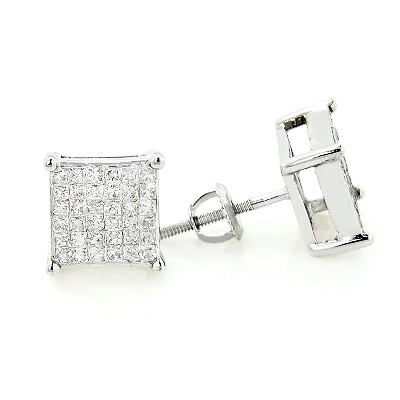 Princess Cut Invisible Set Diamond Earrings 1ct 14K Gold