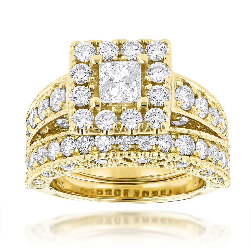 Princess Cut Round Diamond Engagement Ring Wedding Band Set 3.5ct 14K Gold