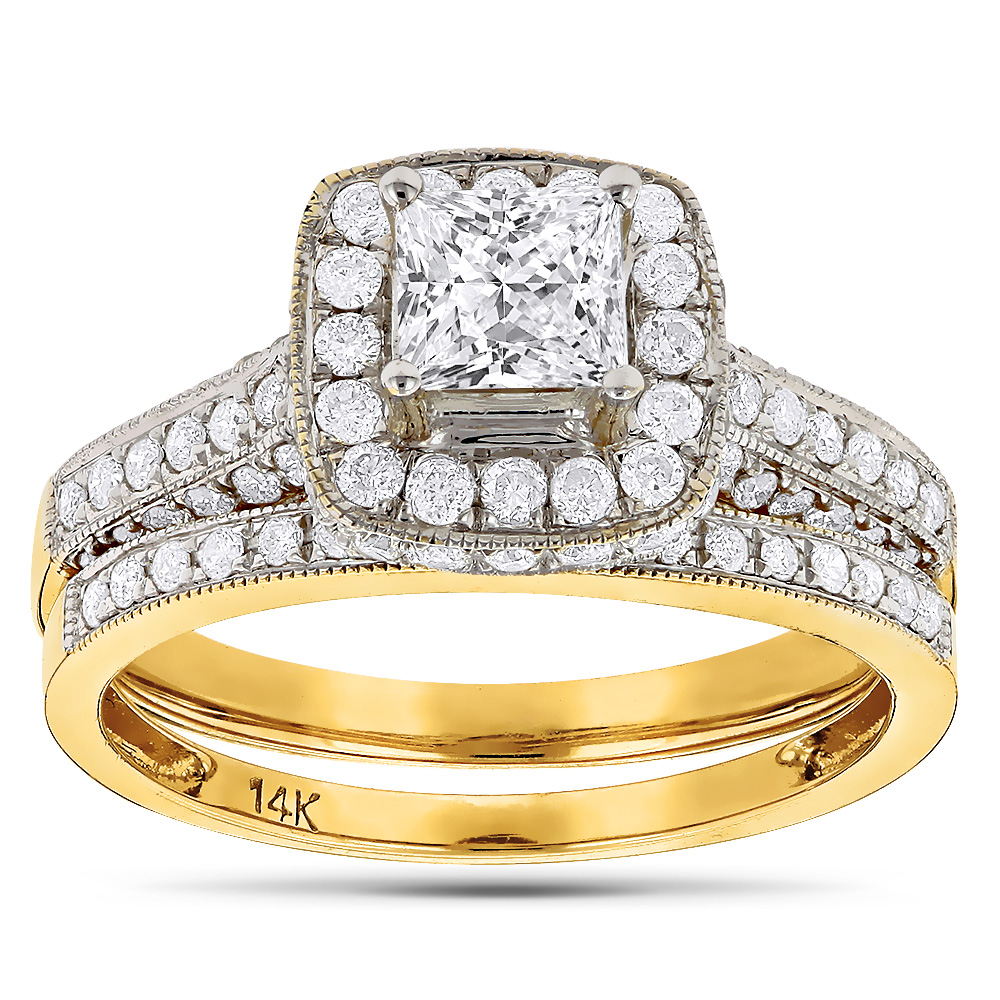 Princess Cut Diamond Halo Engagement Ring Set 1.93ct 14K Gold Yellow Image