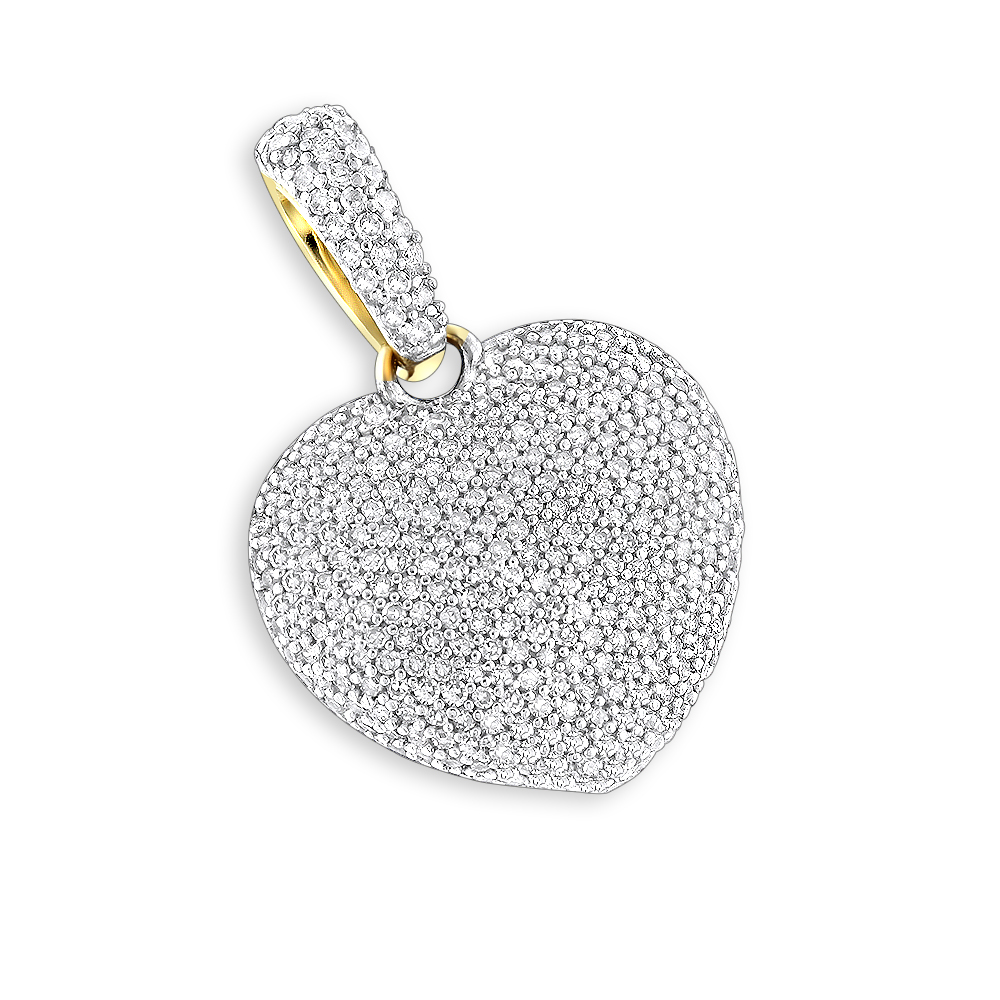 Puffed Diamond Heart Necklace 14K Gold 0.92ct Yellow Image