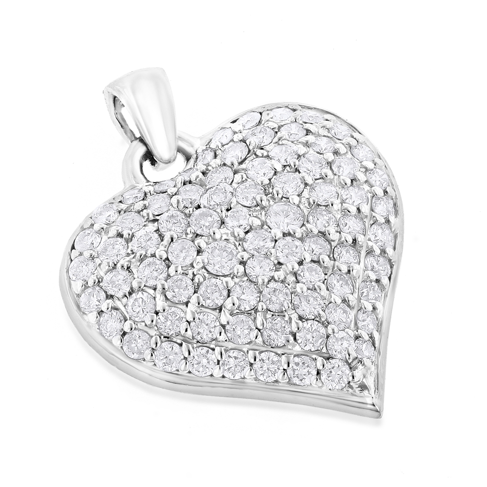 Puffed Hearts: Ladies 14K Gold Diamond Heart Pendant 1.5ct White Image