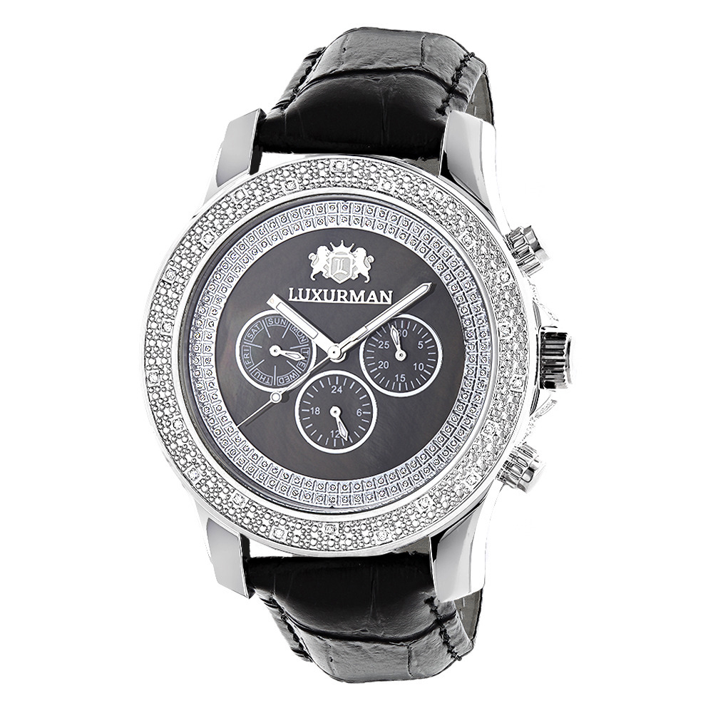 Raptor Mens Real Diamond Watch by LUXURMAN Black MOP w Leather Band 0.25ct