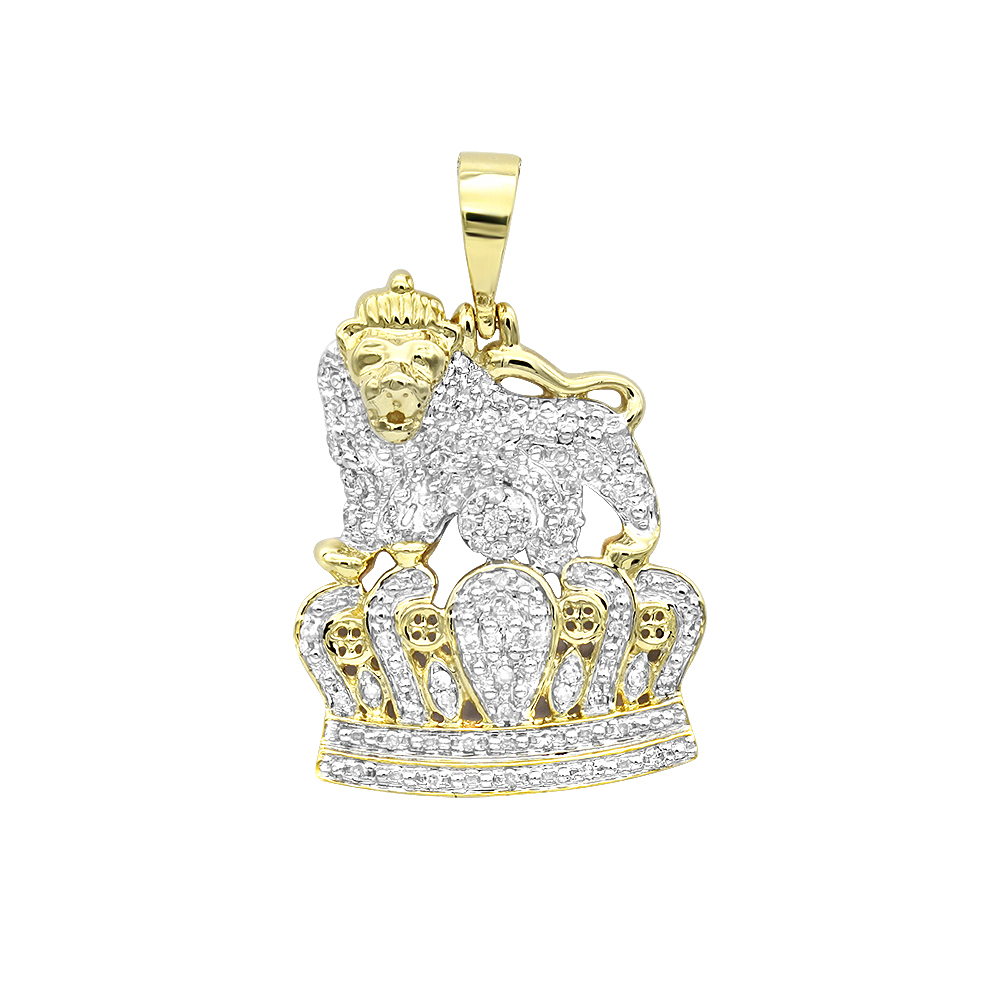 Real 10k Gold Diamond Lion Pendant with Crown 0.3ct Yellow Image
