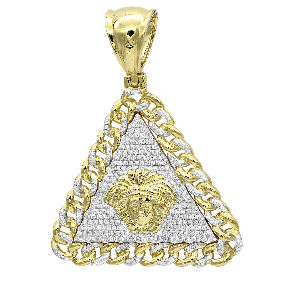 Real 10K Gold Diamond Medusa Head Triangle Pendant Cuban Link Chain 0.8ct Yellow Image