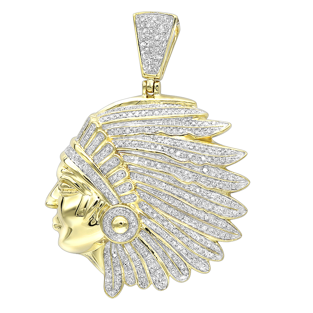 Real 10k Gold Indian Chief Head Pendant for Men with Genuine Diamonds 1.2ct Yellow Image