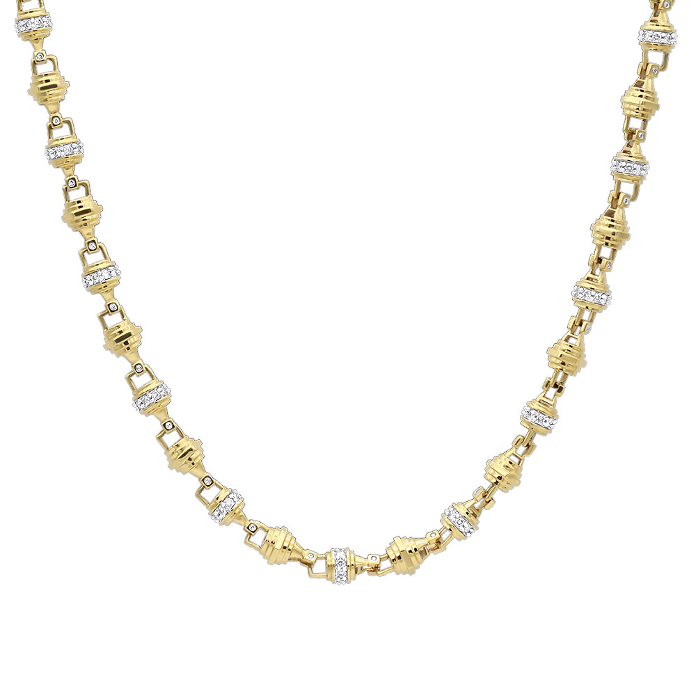 Real 14k Gold Mens Diamond Chain Necklace 16.81ct 30 inches Yellow Image