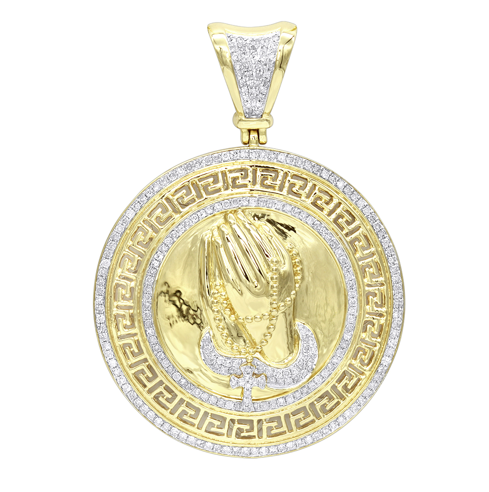 Real 14k Gold Praying Hands with Rosary Diamond Pendant Medallion 1ct Yellow Image