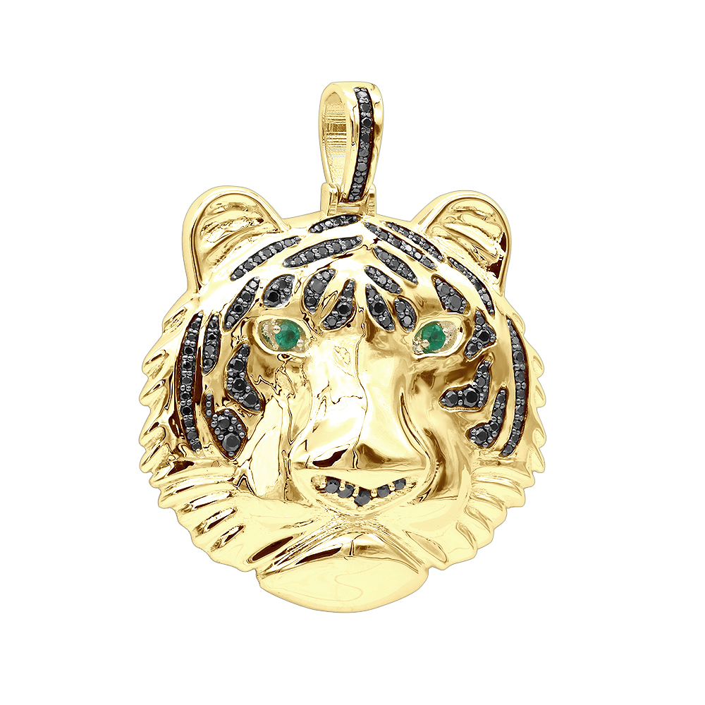 Real 14K Gold Tiger Head Diamond Pendant for Men 2.2ct Black Diamonds Yellow Image