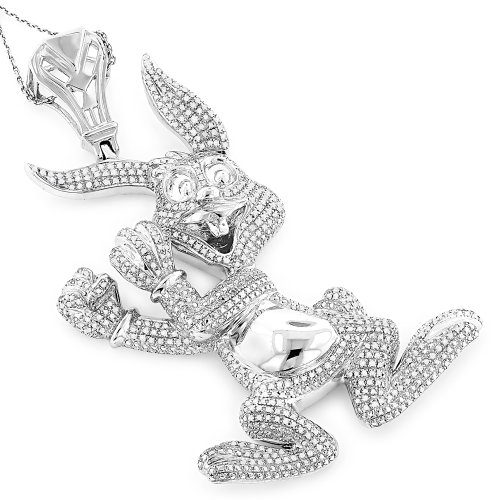 Real Custom Jewelry: Diamond Bugs Bunny Pendant 2.48ct Gold Plated Silver White Image