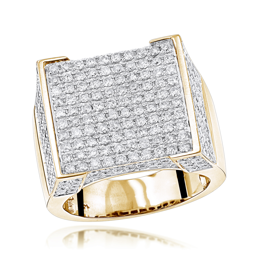 Real Hip Hop Diamond Ring for Men 4.35ct Yellow Image