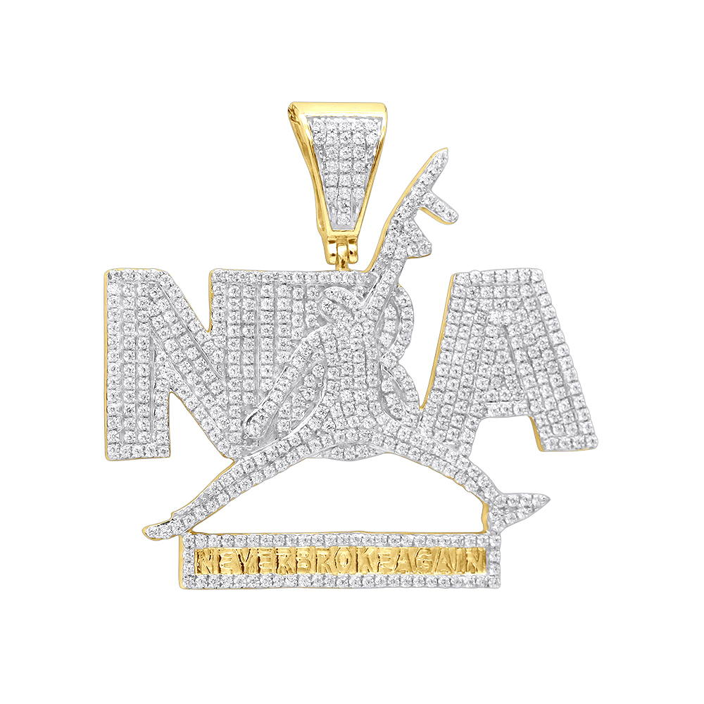 Real Hip Hop Jewelry 10K Gold Diamond NBA Pendant for Men 1.5Ct Yellow Image