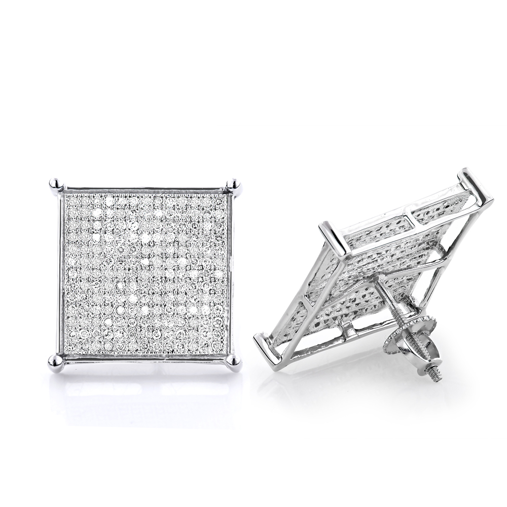 Real Hip Hop Jewelry: Diamond Earrings 10K Gold 1.13ct White Image