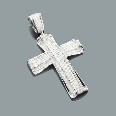 Real Hip Hop Jewelry: Large Silver Diamond Cross Pendant 1.66ct Main Image