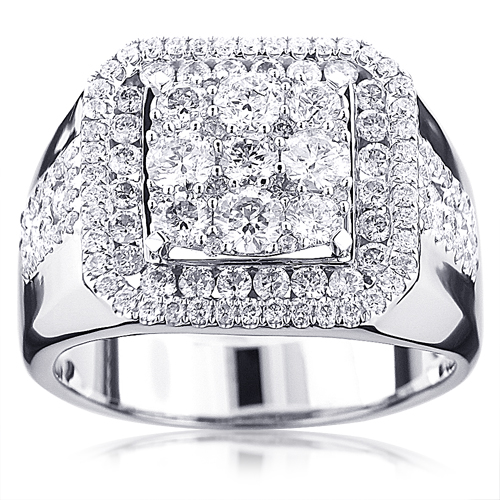 Real Hip Hop Jewelry: Square Mens Diamond Ring 3ct 14K Gold real-hip-hop-jewelry-square-mens-diamond-ring-3ct-14k-gold_1