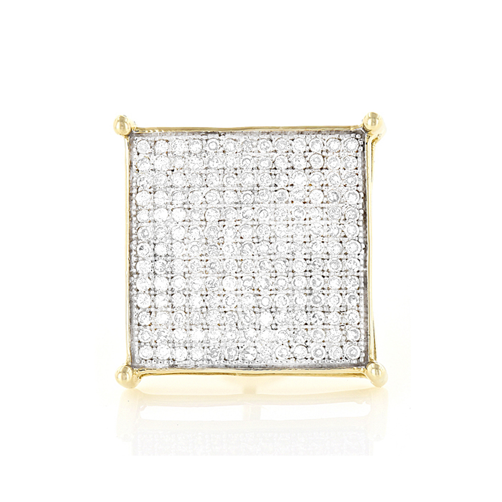 Real Hip Hop Jewelry:10K Gold Men's Diamond Oversized Stud Earring  0.6ct Yellow Image