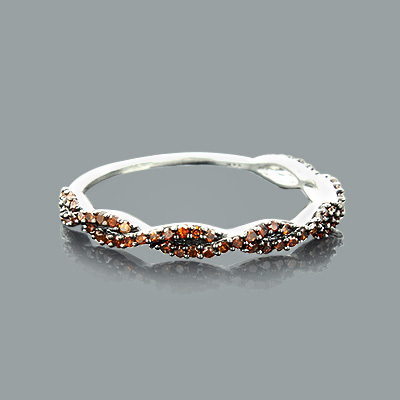 Ultra Thin Red Diamond Twist Ring 0.28ct 14K Stackable Main Image