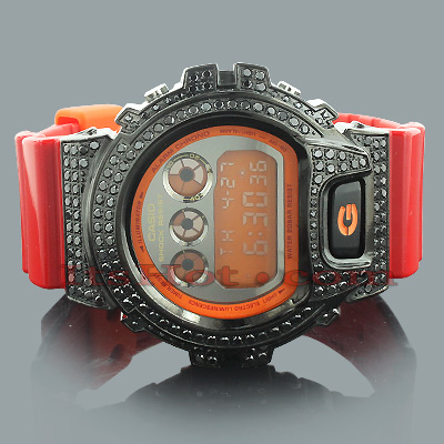 Red G-Shock Watch with Black Crystals
