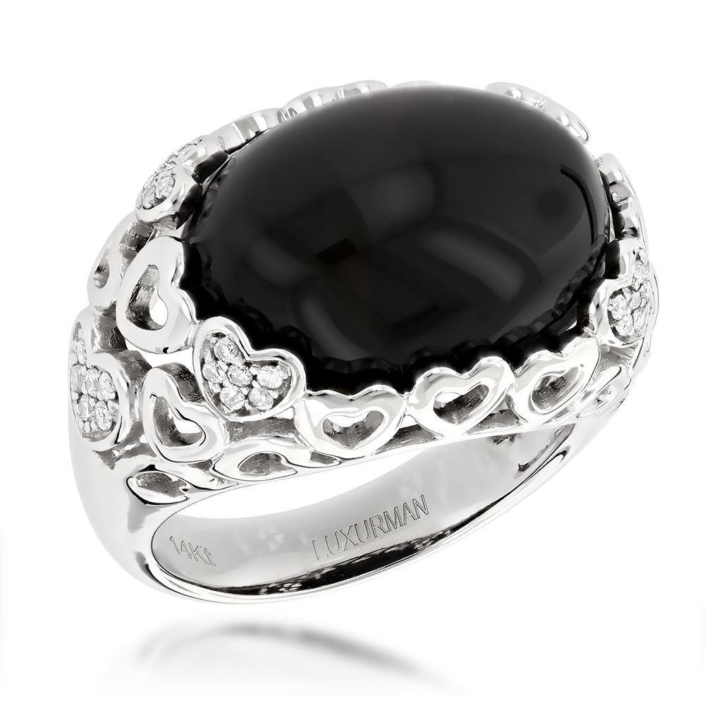 Right Hand Diamond Fashion Rings: Luxurman Onyx  and Hearts Ring 14K Gold White Image