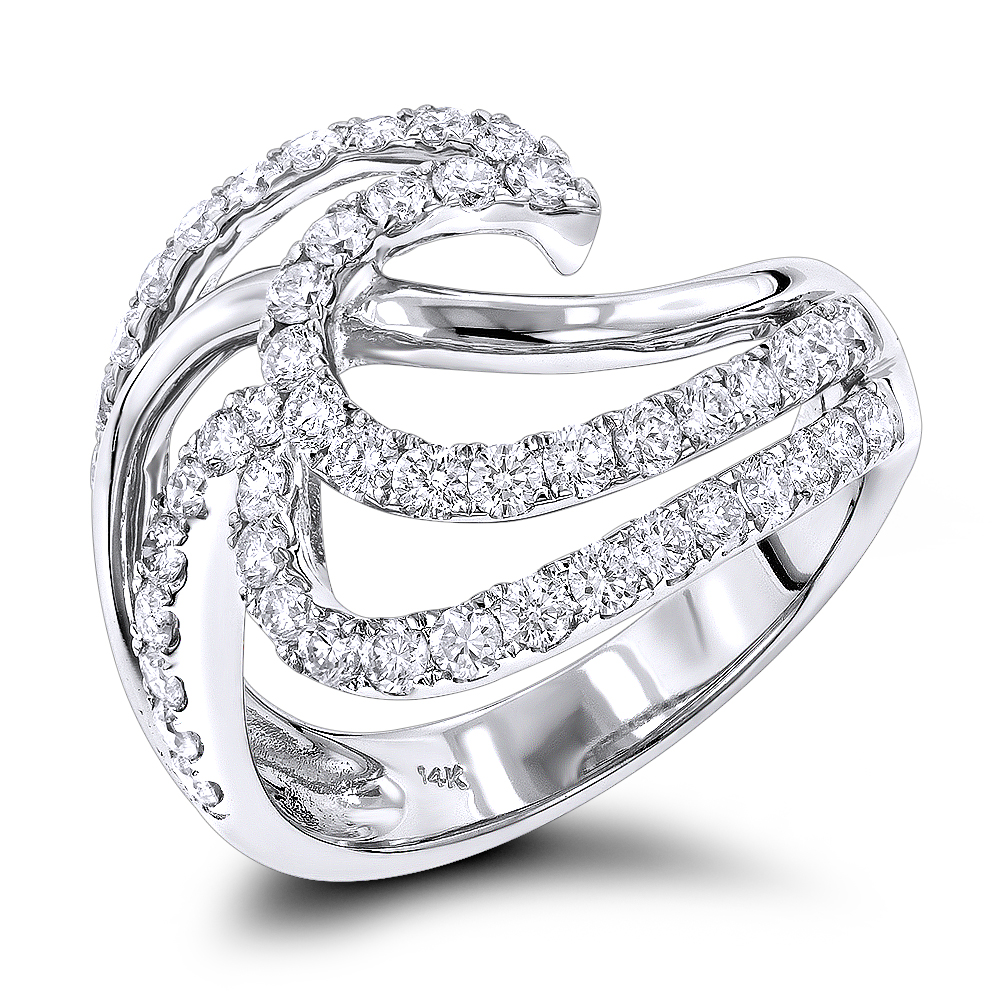 Right Hand Rings: Gold Diamond Wave Ring For Women 1.5ct 14K White Image